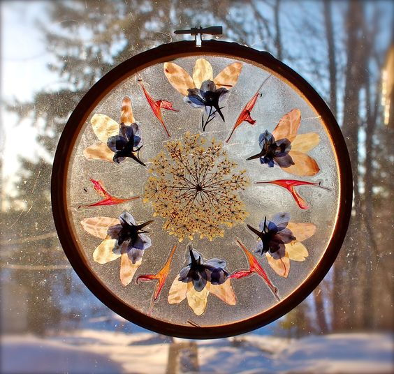 pressed flower mandala suncatcher