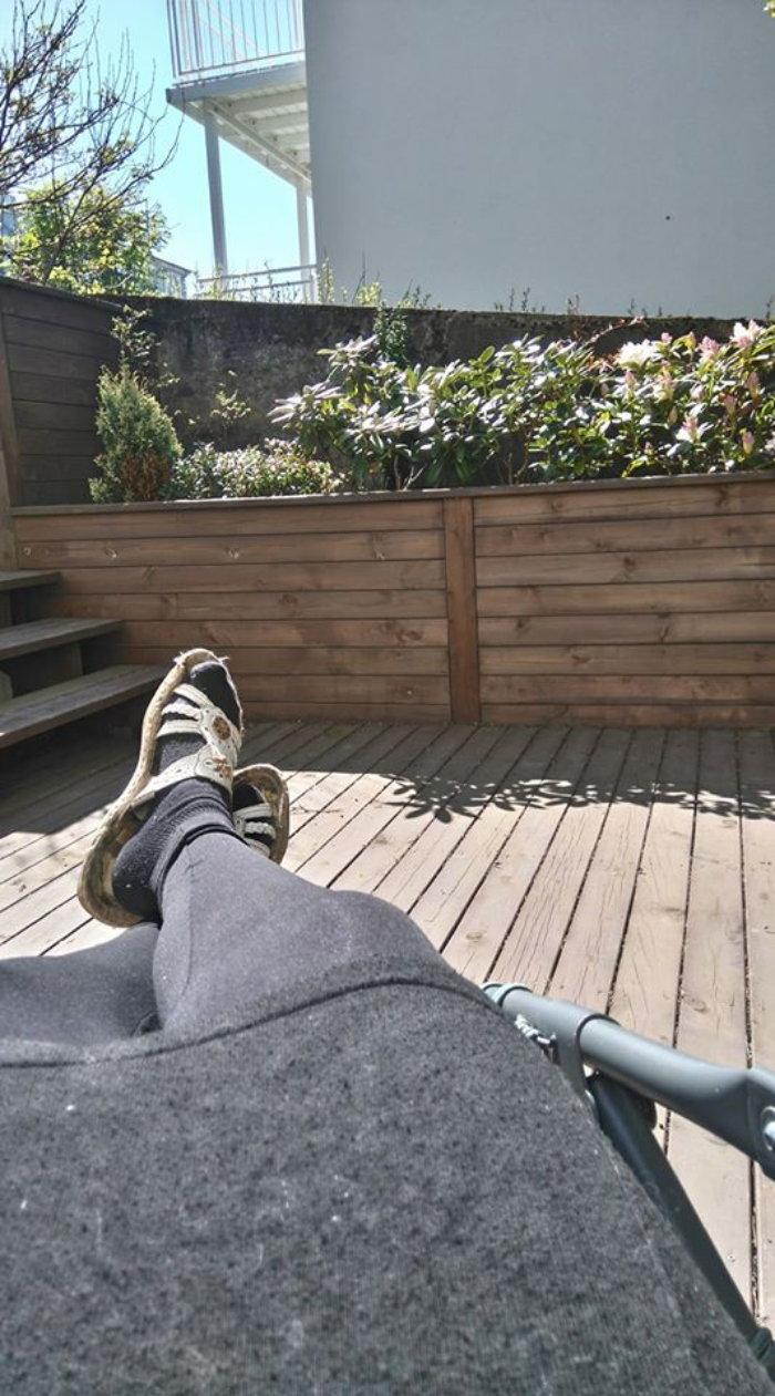 gardener's feet, relaxing outdoors