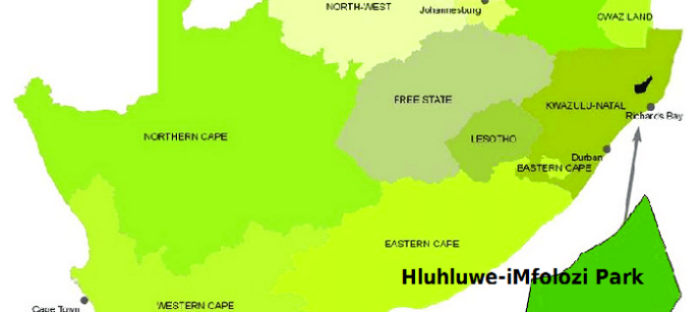 map of South Africa pinpointing the park's location