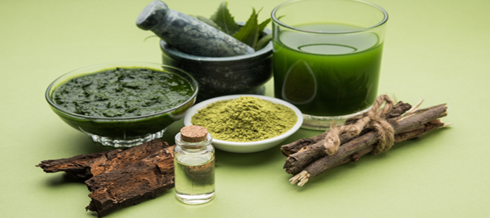 Neem tree materials and oils with mortar and pestle