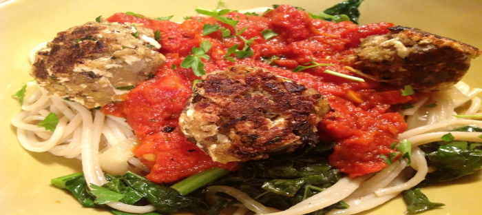 Vegetable meatballs and spaghetti sauce