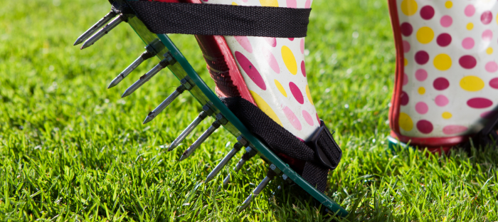 Lawn Aerator Shoe Attached to Polka Dot Boot