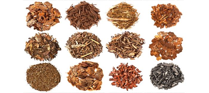 Circular Piles of Mulch Materials