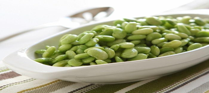 bowl of green lima beans