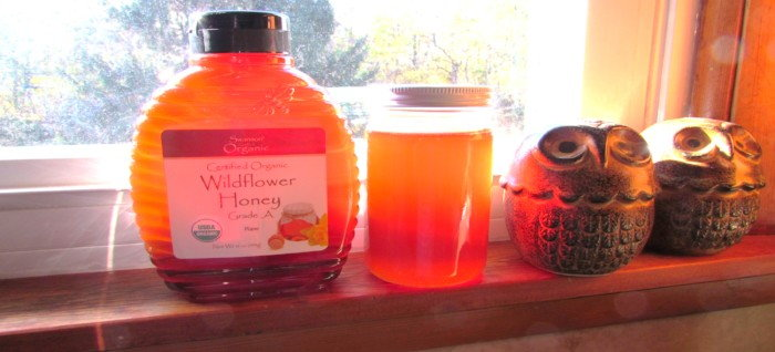 jars of honey on a windowsill