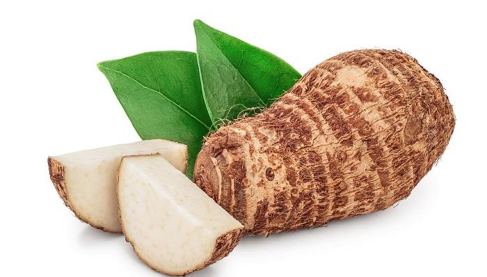 sliced taro root
