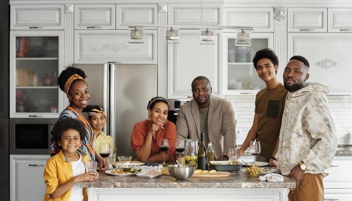 family around a kitchen counter