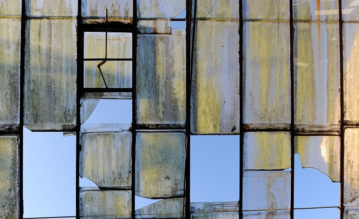 broken glass panes