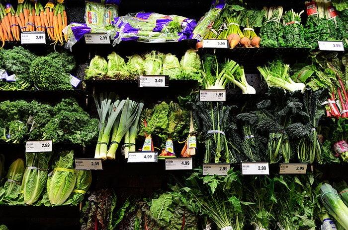 vegetable bins in grocery store