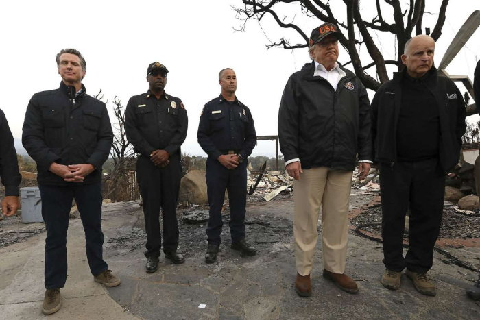 president trump and governor newsom inspecting burned areas