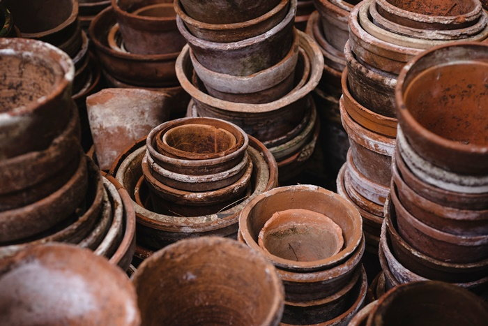 stacks of clay pots