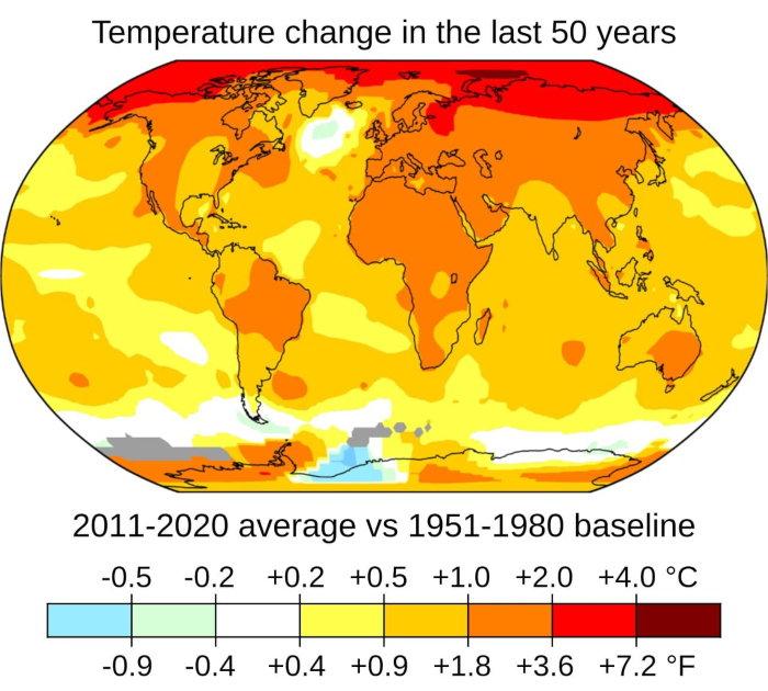 temperature change map