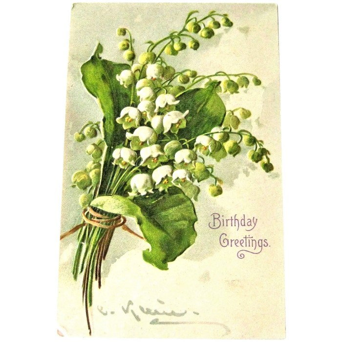greeting card with lily of the valley image