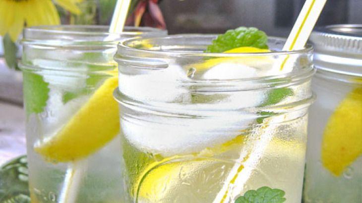 lemon balm and lemon in a cocktail