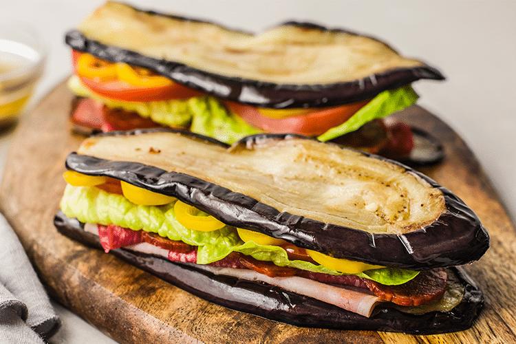 eggplant slices used as bread