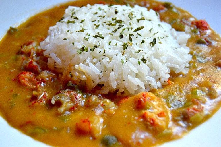 crawfish etoufee and rice