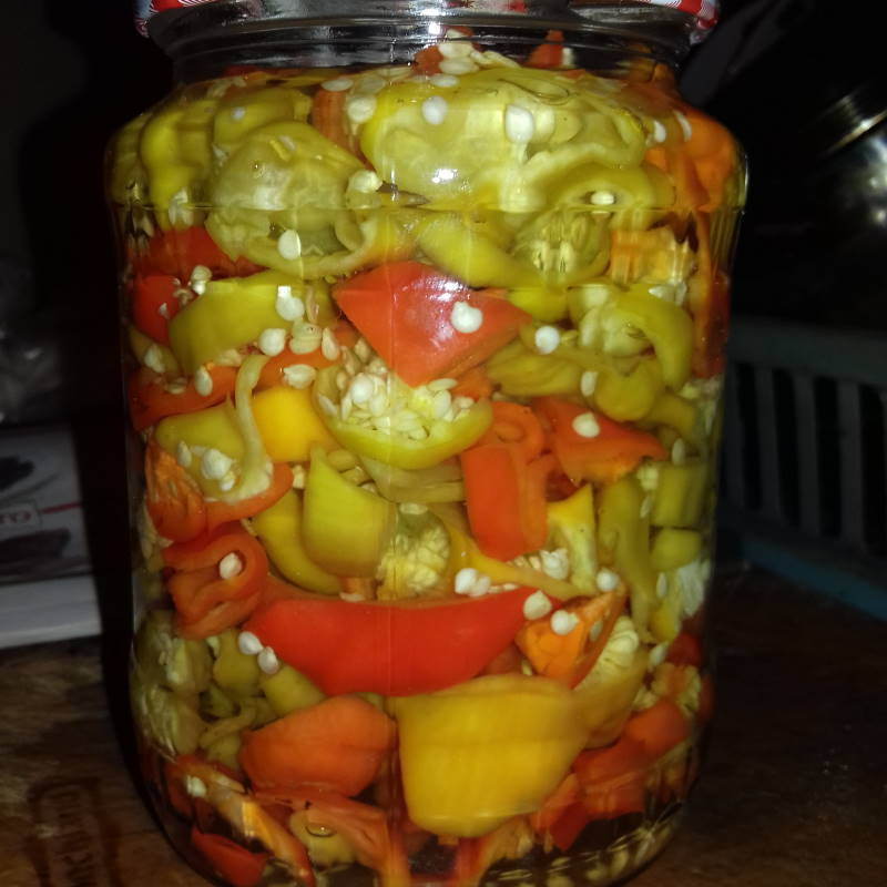Pickled Christmas bell peppers in a big jar