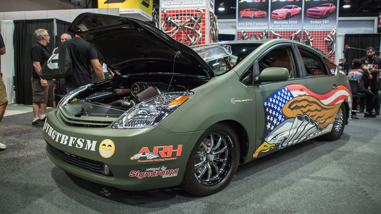 Custom Prius with Hellcat V8 Runs 9s