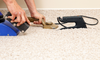 person installing carpet