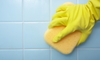 gloved hand wiping tile with a sponge