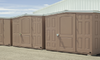 Row of taupe colored sheds