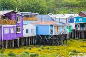 A row of stilt houses.