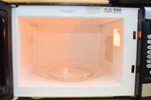 microwave interior with glass turntable