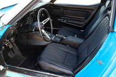 Inside front seats of a car