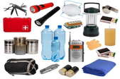 A grouping of emergency kit supplies.
