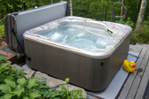 a hot tub with the cover off