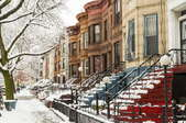brownstone apartments in winter