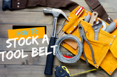 A fully stocked tool belt with the the words