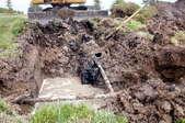 broken sewer line leaking