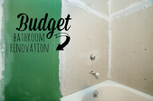 A bathroom remodeling project with the words