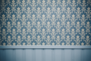 a wall with winscotting on the bottom and blue and tan wallpaper on the top