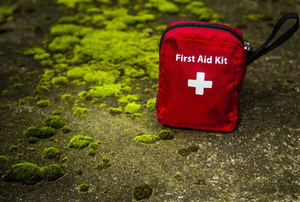 A red first aid kit against a mossy brick.