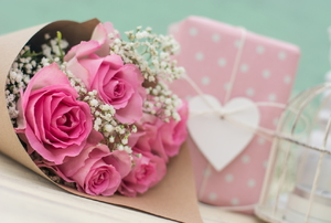 A bouquet of pink roses for Valentine's Day.