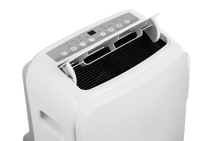 The top sits open on a white portable air conditioner.