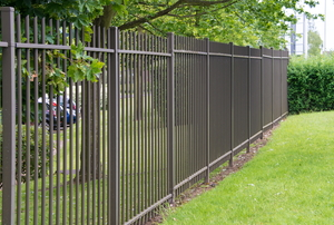 steel fence acting as a park barrier