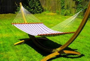hammock on stand in yard