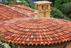 A roof with clay tiles.