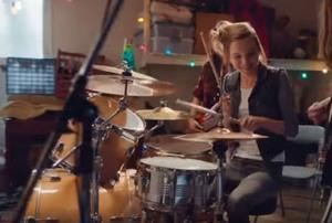 A drum set.