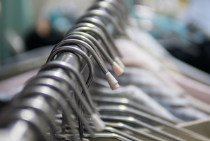 closeup of a clothes rack