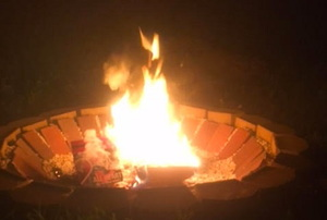 fire in backyard fire pit