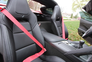 black seats with red seat belts