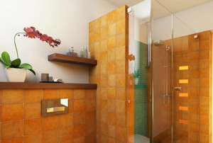 Bathroom with aging tile and decor