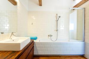 A shower tub.