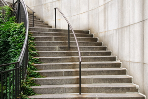 outdoor stairway with metal handrail