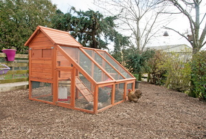 A wood chicken coop in a yard.