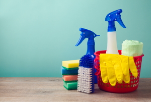 A grouping of cleaning products including a bucket and spray bottle.